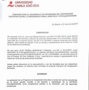 RTGC & ASOCIADOS · Convenio de Colaboración con la Universidad Camilo José Cela