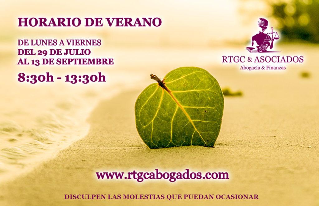 Horario de Verano 2019. Despacho de Abogados RTGC & ASOCIADOS. La Palma y Tenerife.
