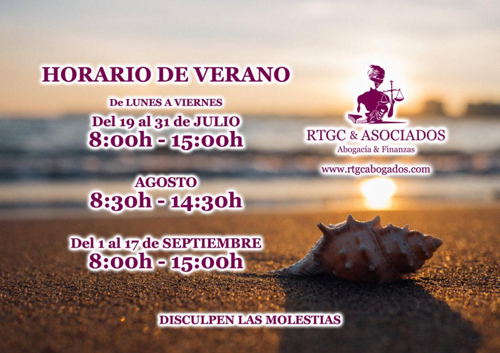 Horario de Verano 2021 RTGC & ASOCIADOS · Abogados de Santa Cruz de La Palma y S/C de Tenerife