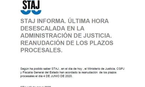 Los plazos procesales se reanudarán el 4 de junio de 2020